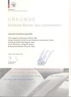 2011, 28. Februar - Prämierung «Kriegszeit» für «Schönste Bücher aus Liechtenstein 2010»